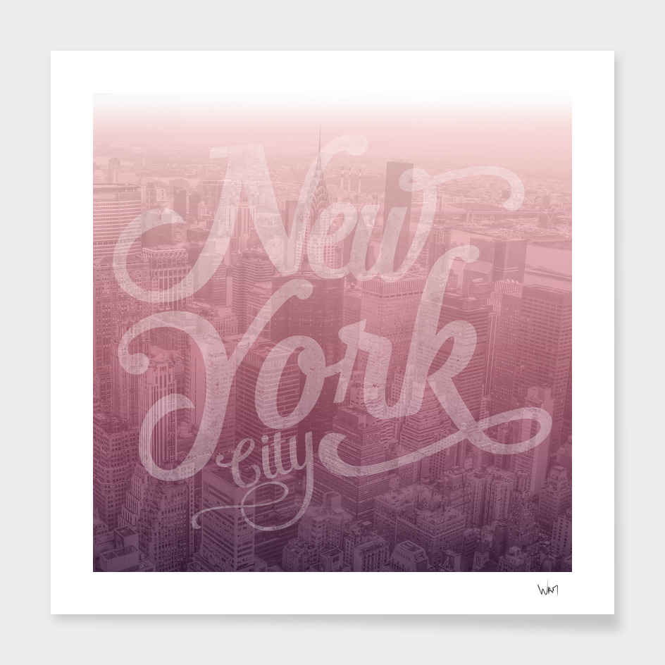 New York City typography burgundy edition square