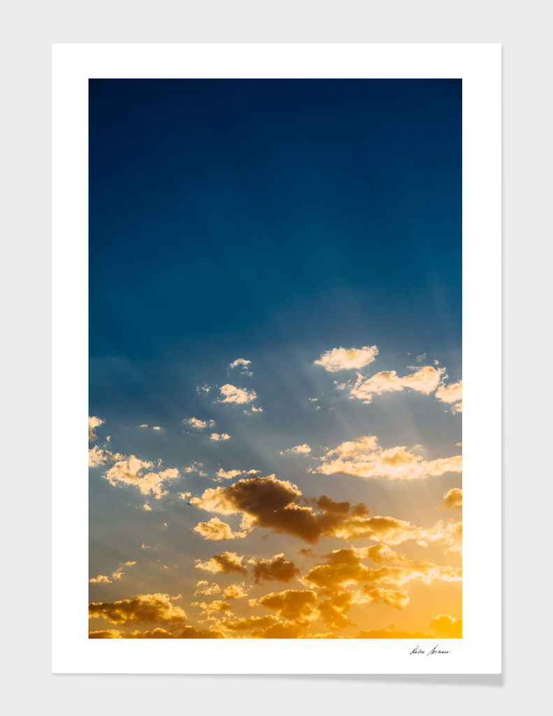 Beautiful Blue And Orange Tranquil Summer Sunset Background