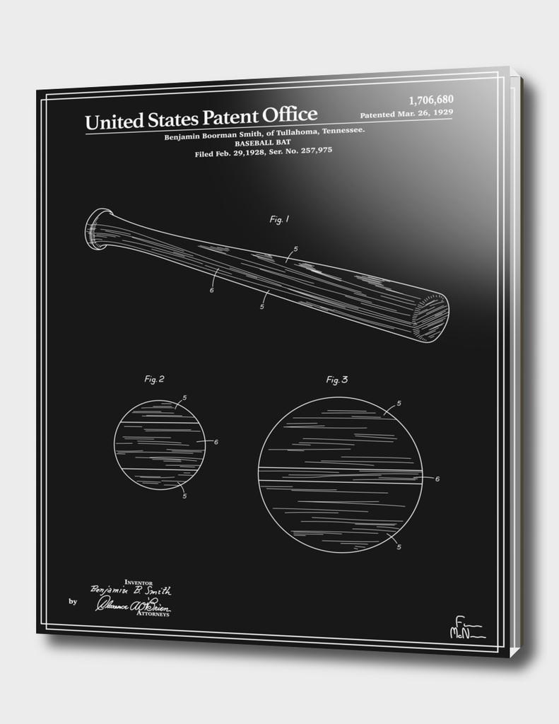 Baseball Bat Patent - Black