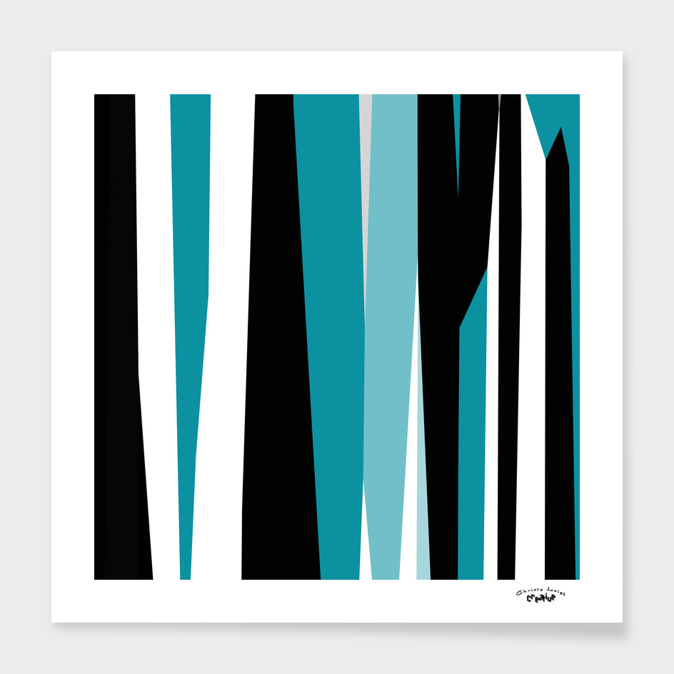 Turquoise black and white abstract