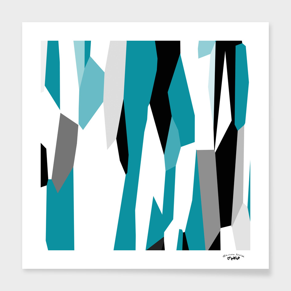 Turquoise black and white abstract 3