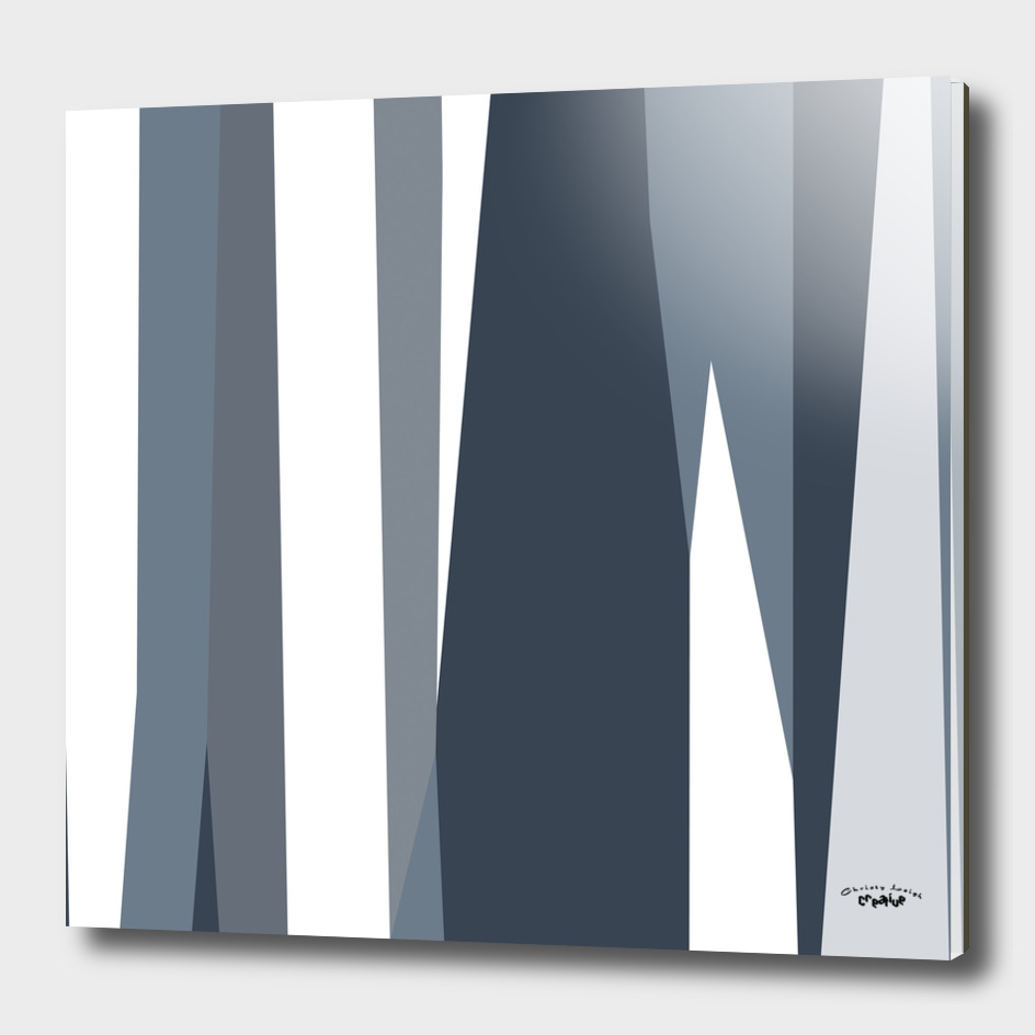 Smoky Blue and white abstract