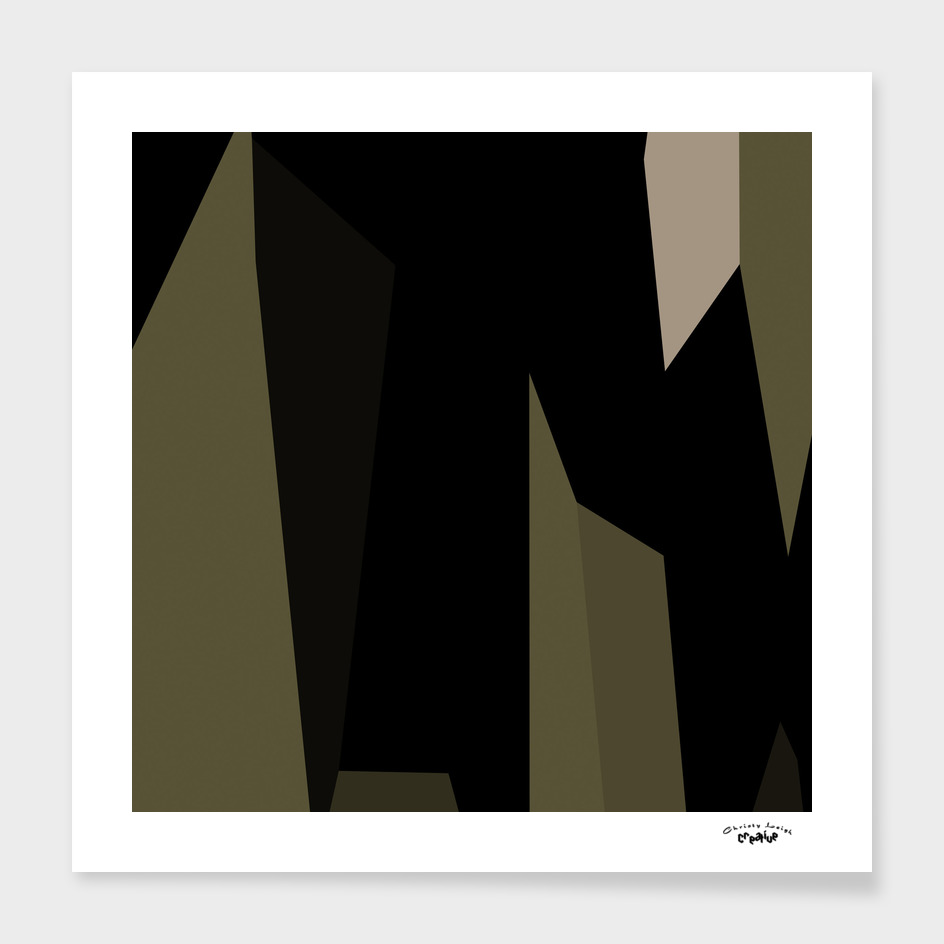 Olive green and black abstract 6