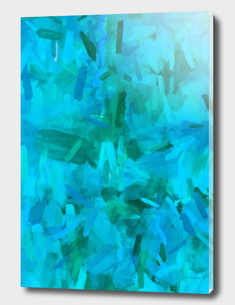 splash painting abstract texture in blue and green