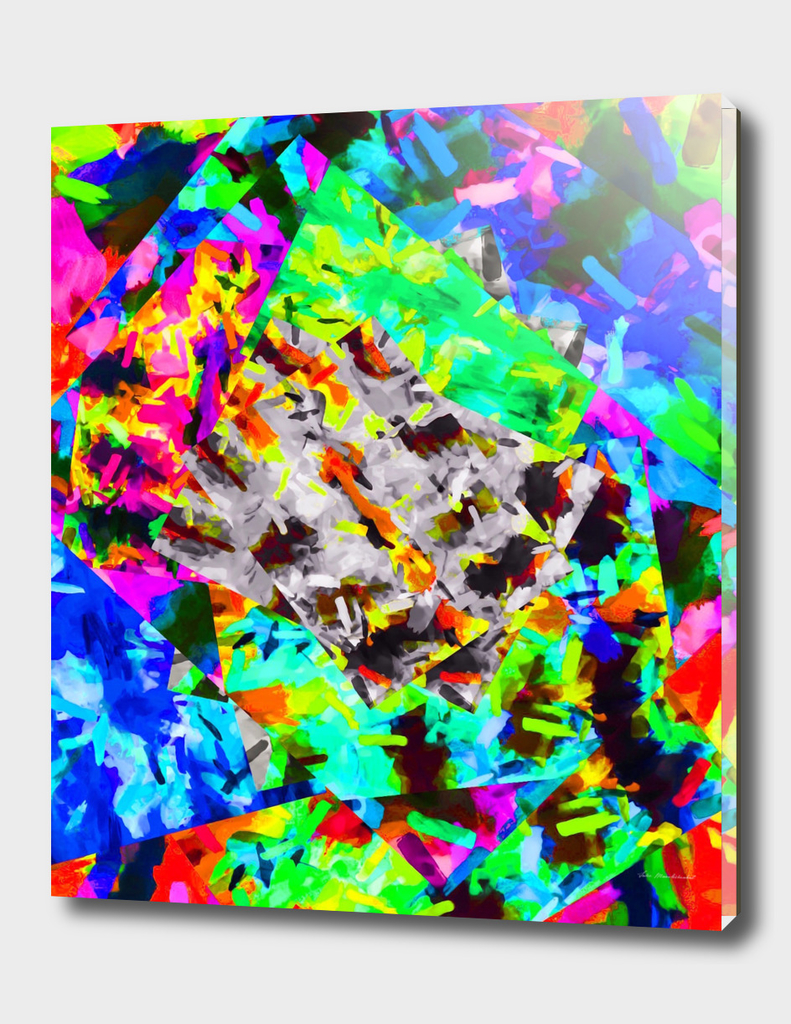 psychedelic splash painting abstract in blue green orange