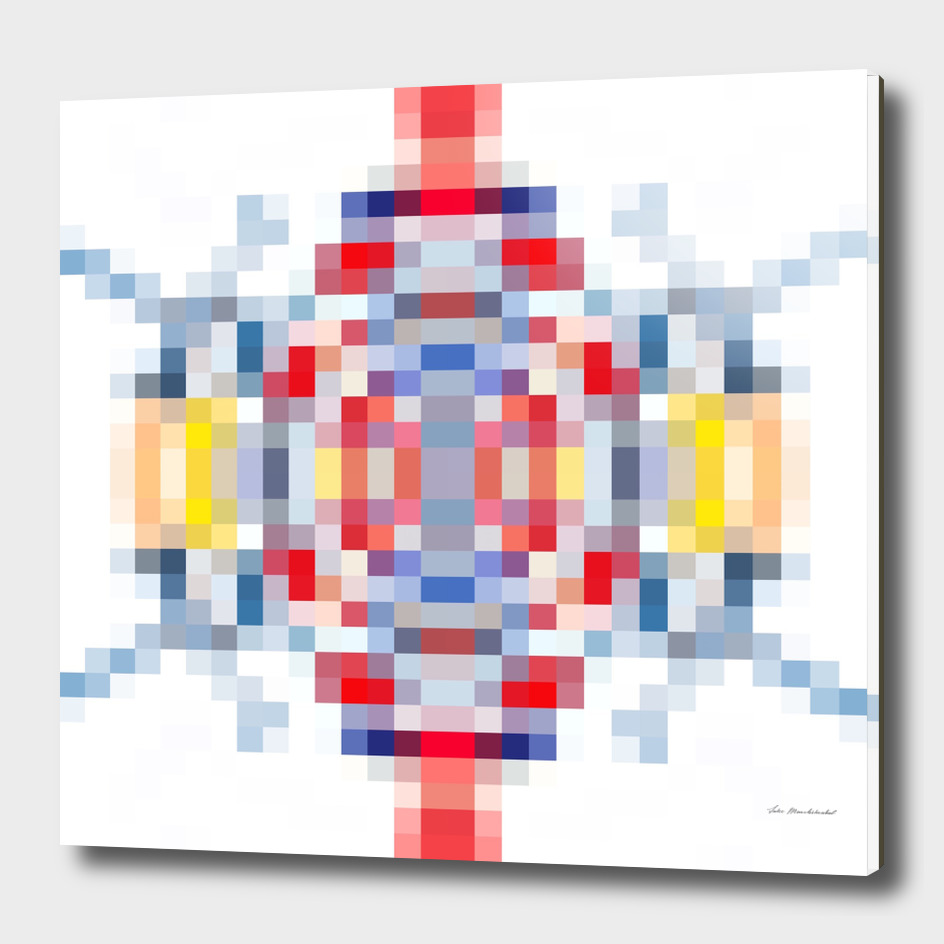 geometric square pattern pixel abstract in blue red yellow