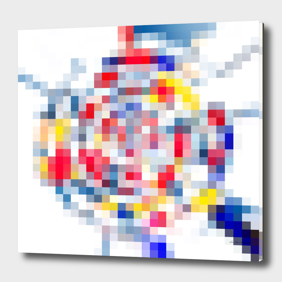geometric square pattern pixel abstract in yellow blue red