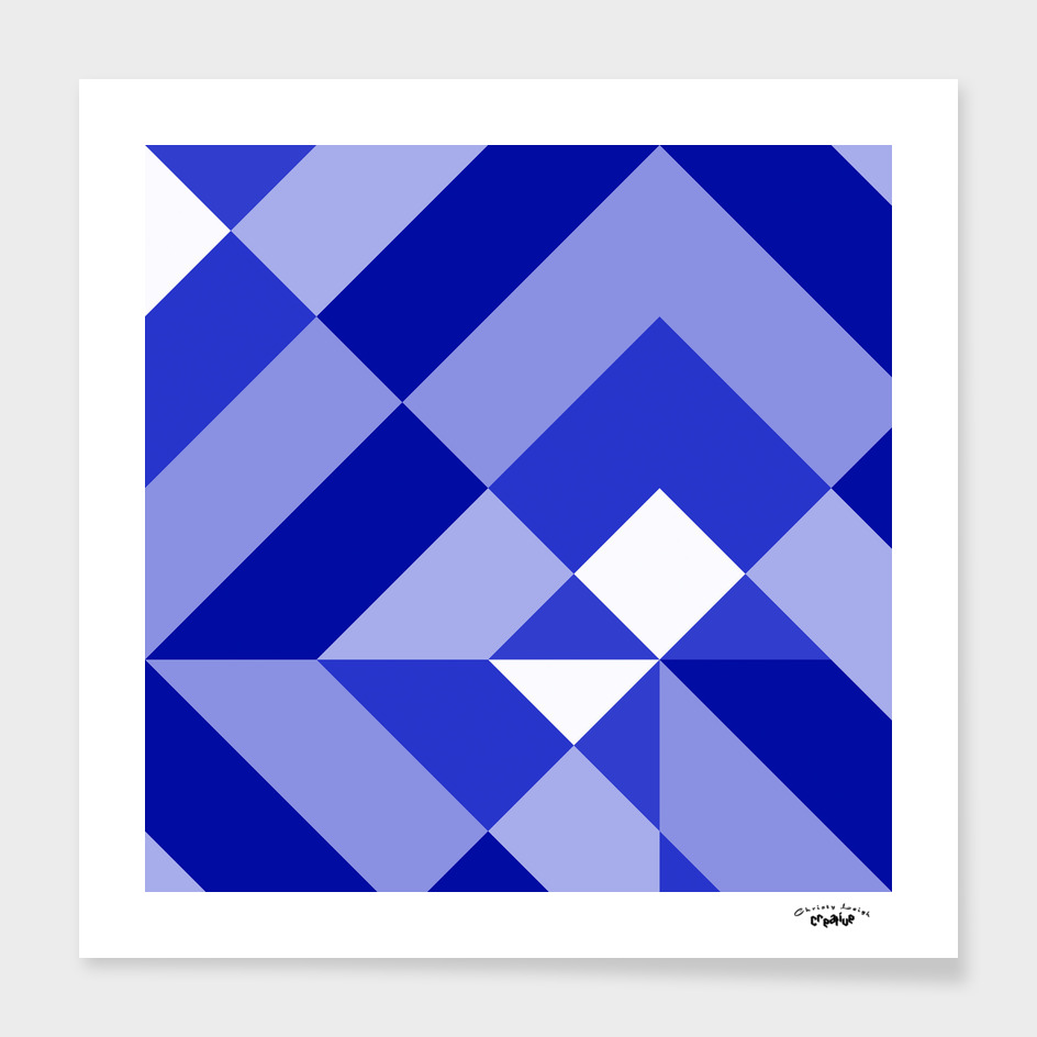 Blue and White Geometric