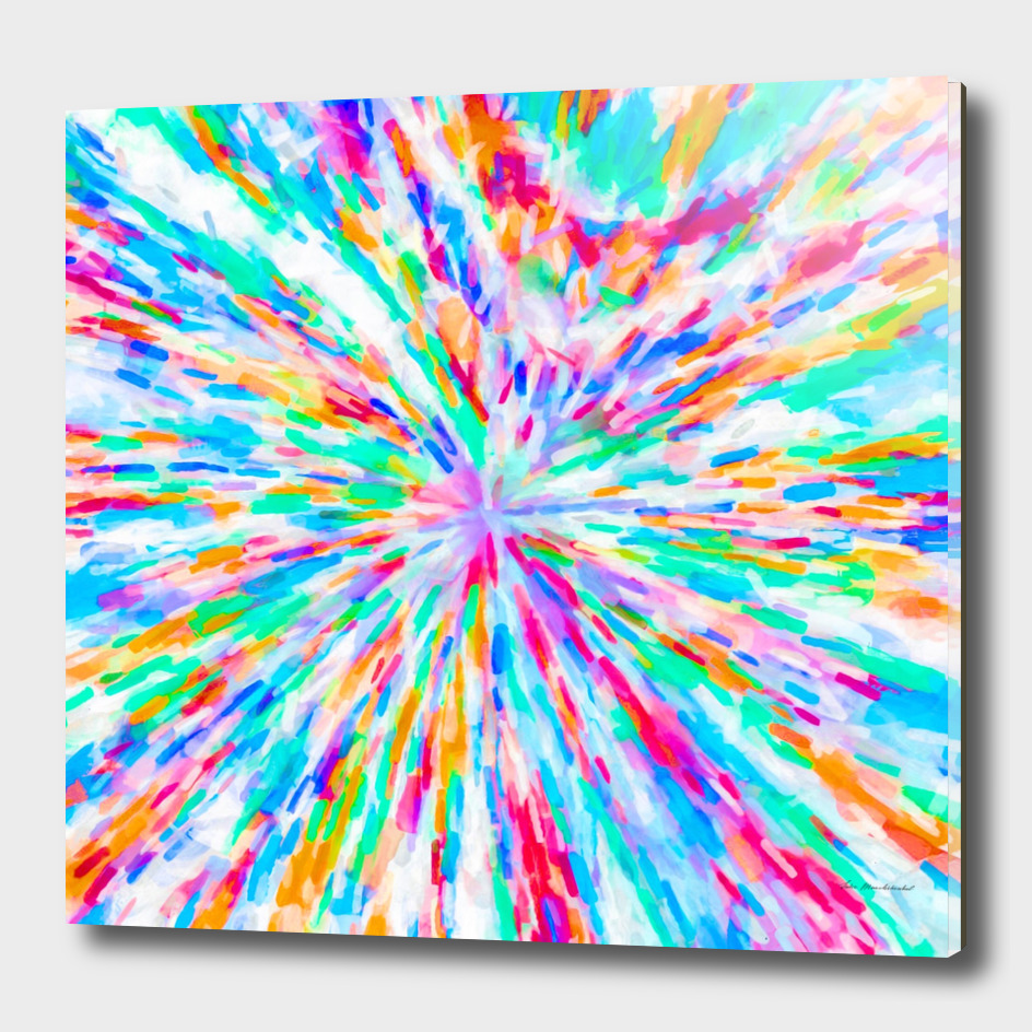 colorful splash painting abstract in pink blue green