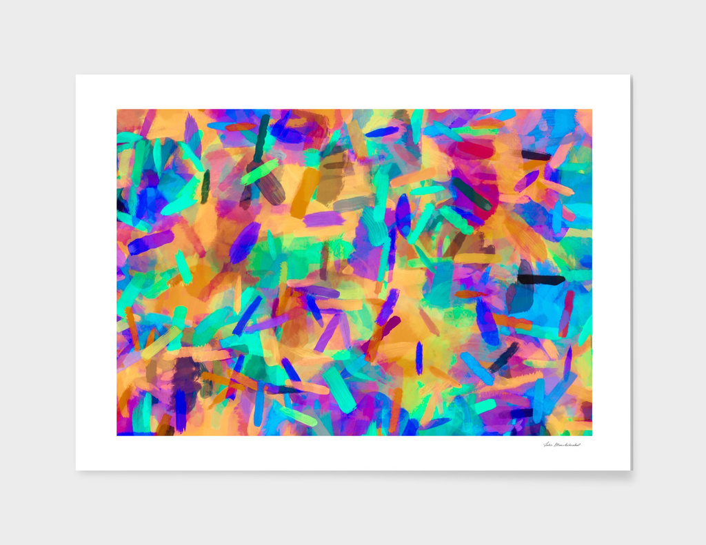 psychedelic splash painting abstract in orange purple green