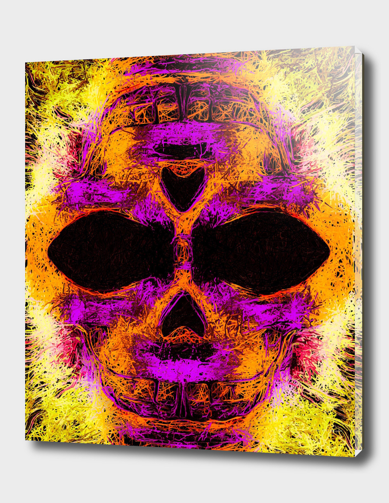 psychedelic angry skull portrait in pink orange yellow