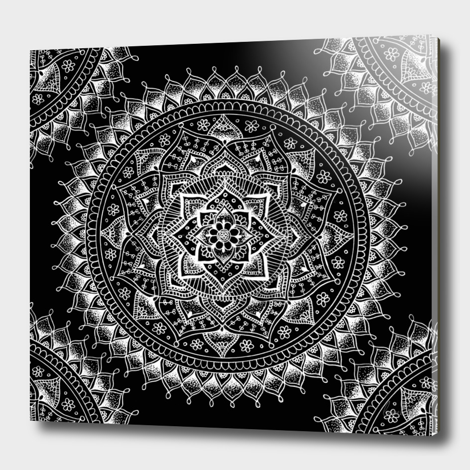 White flower Mandala on Black