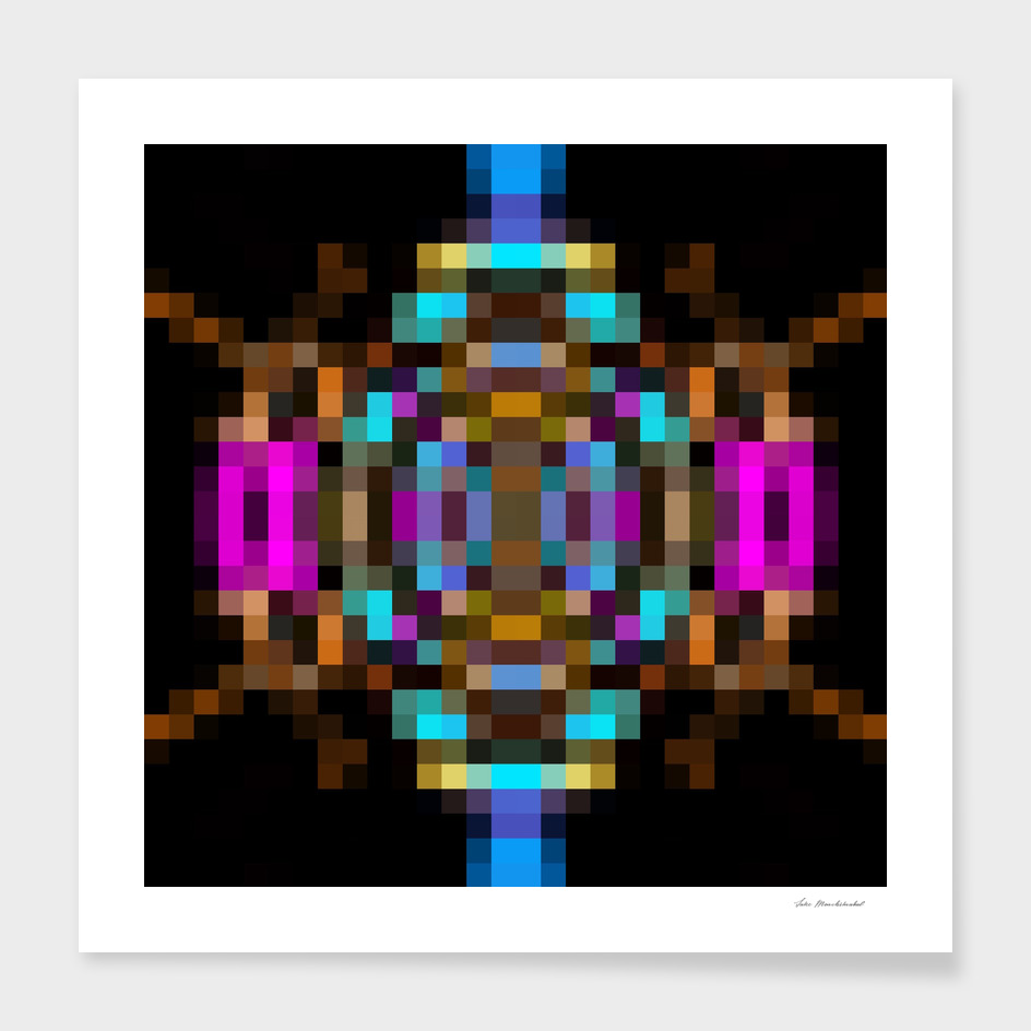 geometric square pixel abstract in blue orange pink