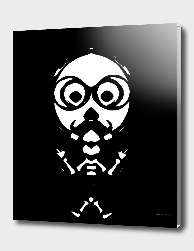 old skinny skull and bone with glasses in black and white