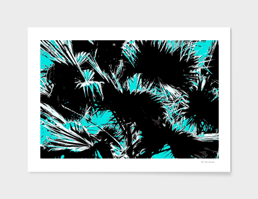palm leaf abstract with blue background