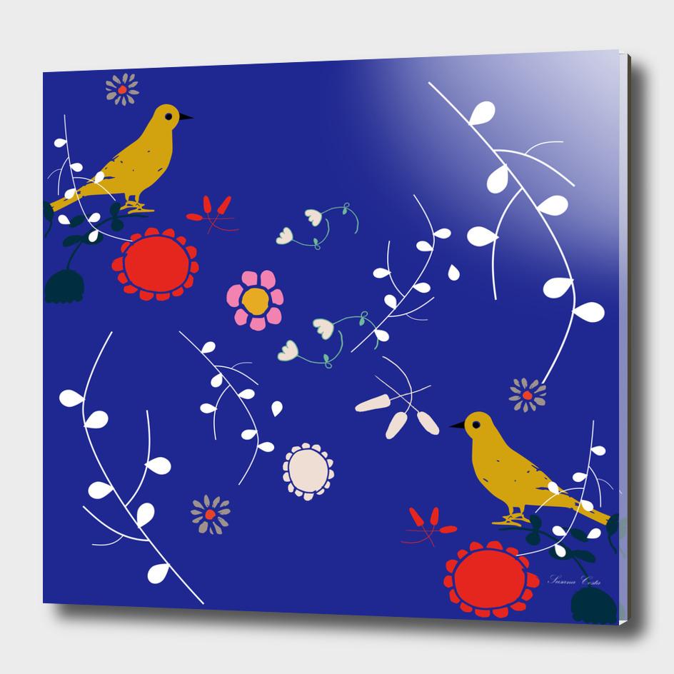 yellow bird blue