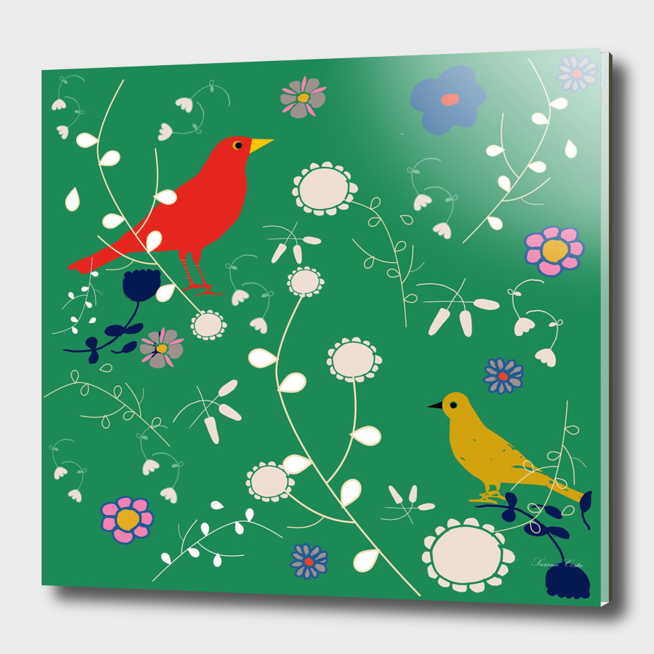 Bird and blooms green