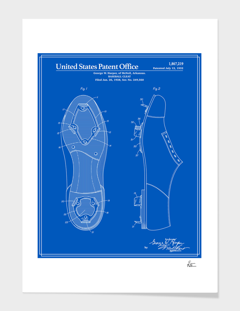 Baseball Cleat Patent - Blueprint