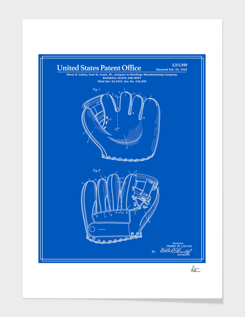 Baseball Glove Patent - Blueprint