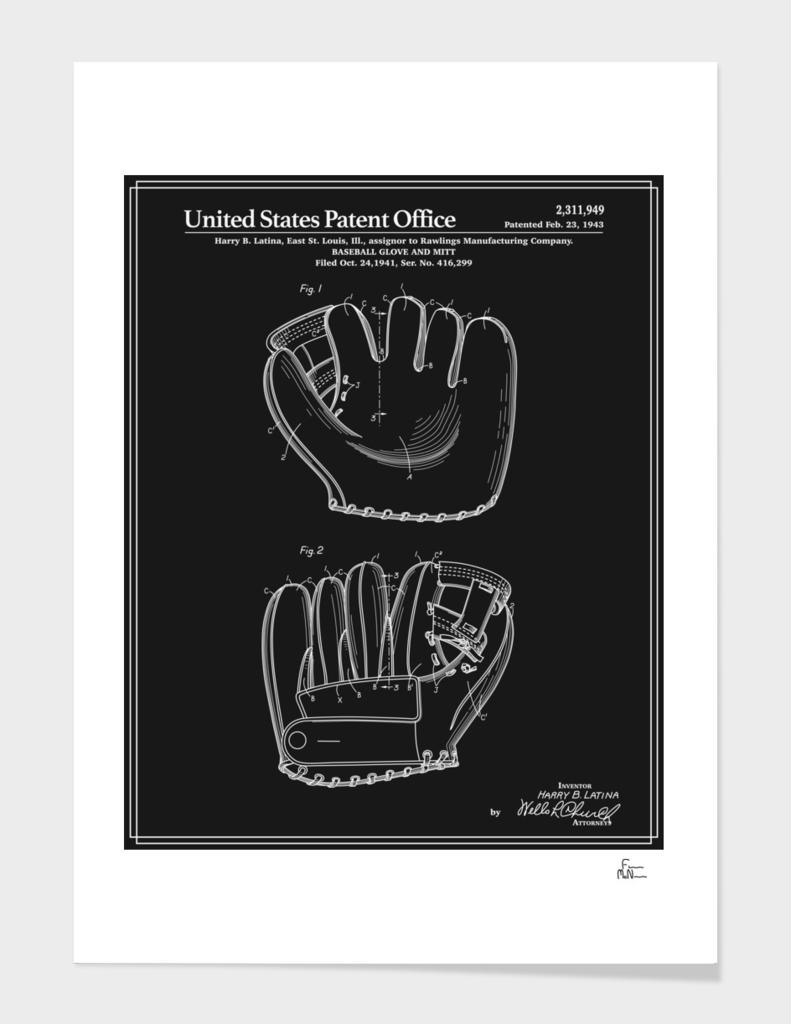 Baseball Glove Patent - Black