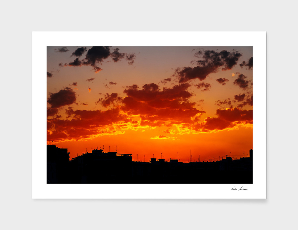 Beautiful Summer Sunset Over Valencia City