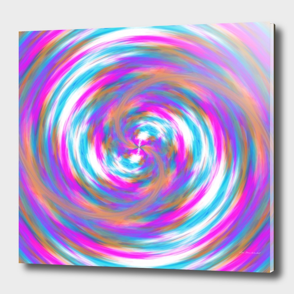 psychedelic circle pattern painting abstract in pink orange