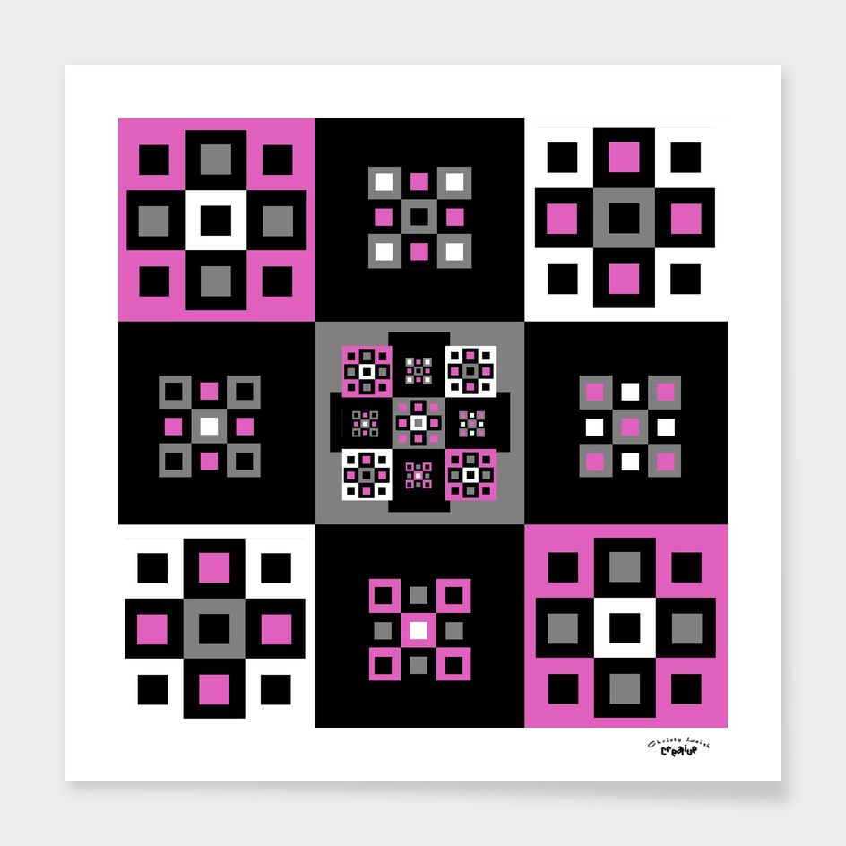 Pink black gray and white squares
