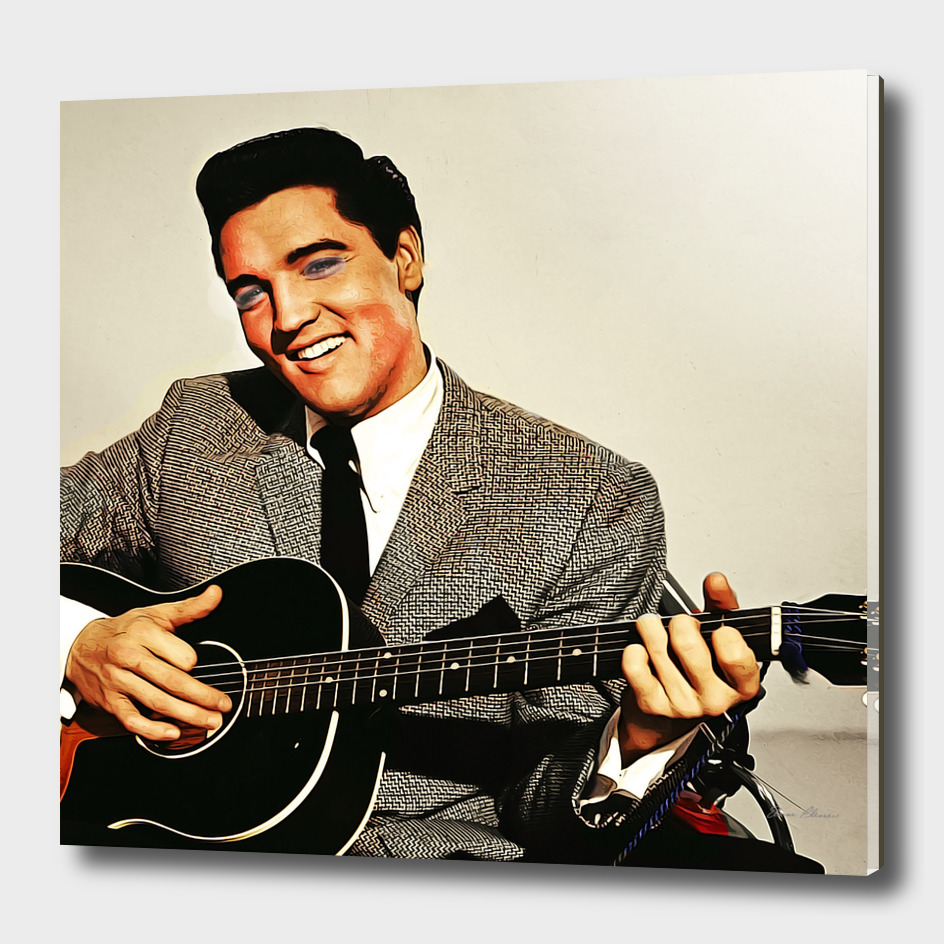 Painting of Young Elvis with Guitar