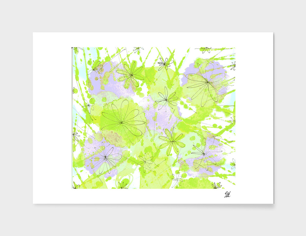 Happy Flowers ~ Green & Lavender