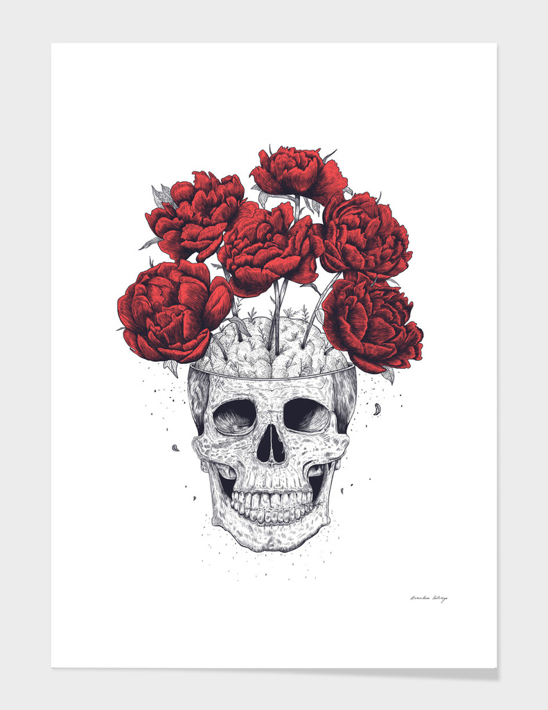 Skull with peonies