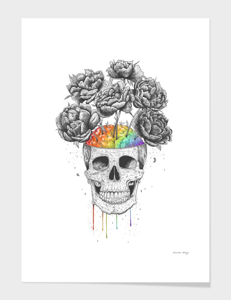 Skull with rainbow brains