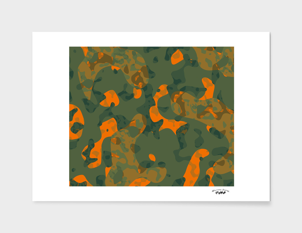 Orange and Green Camo abstract