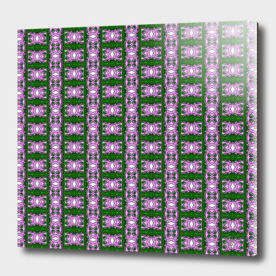 Purple & Green Lattice Pattern With White Diamonds