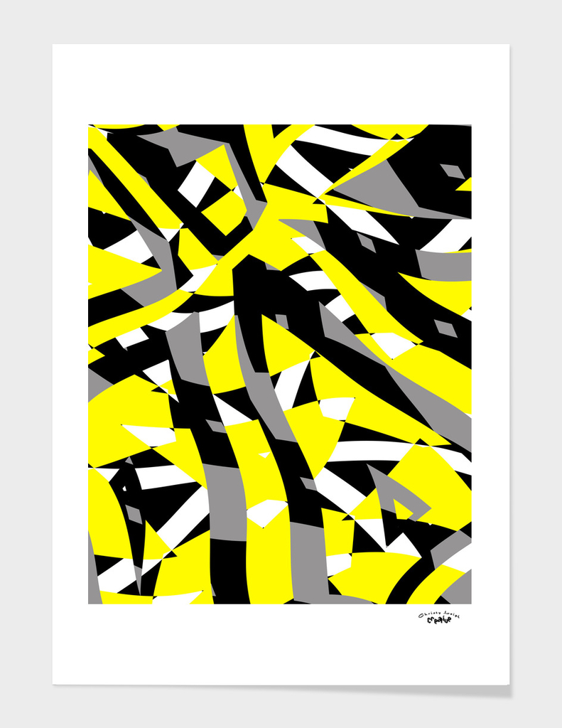 yellow black gray and white abstract
