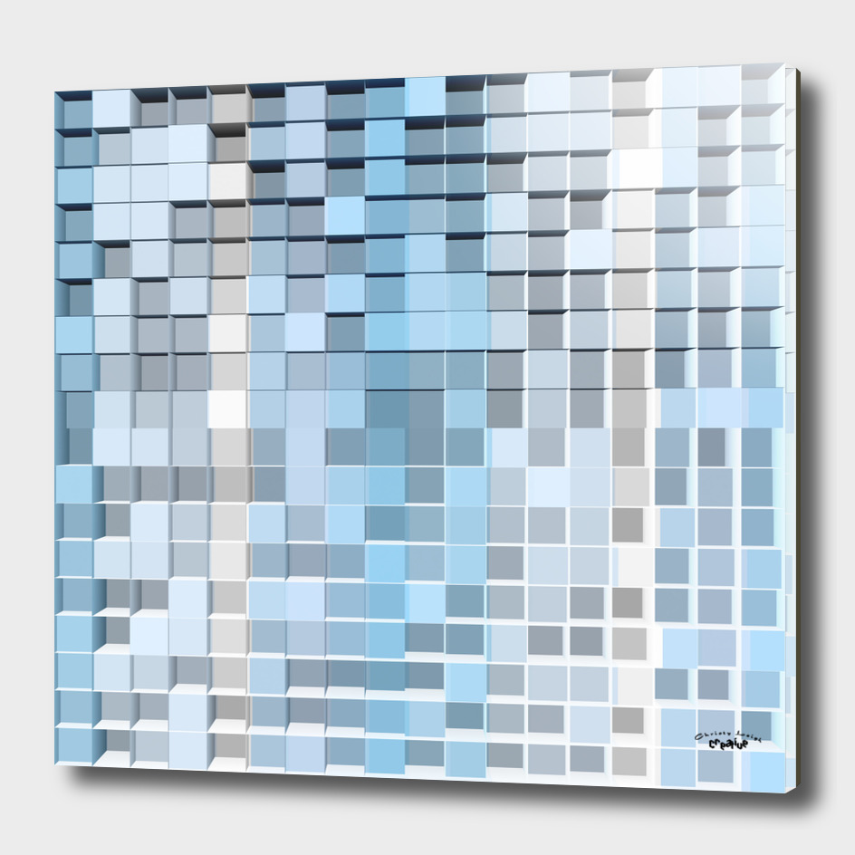 Blue gray and white square abstract