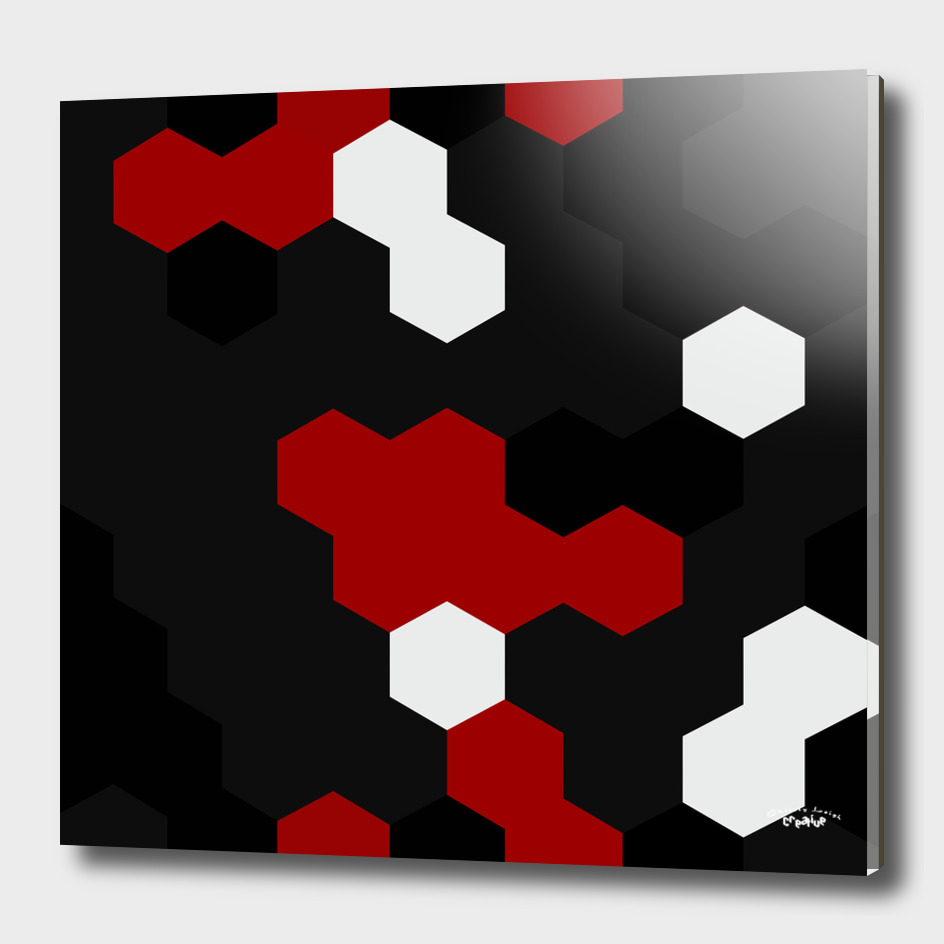 red white and black geometric