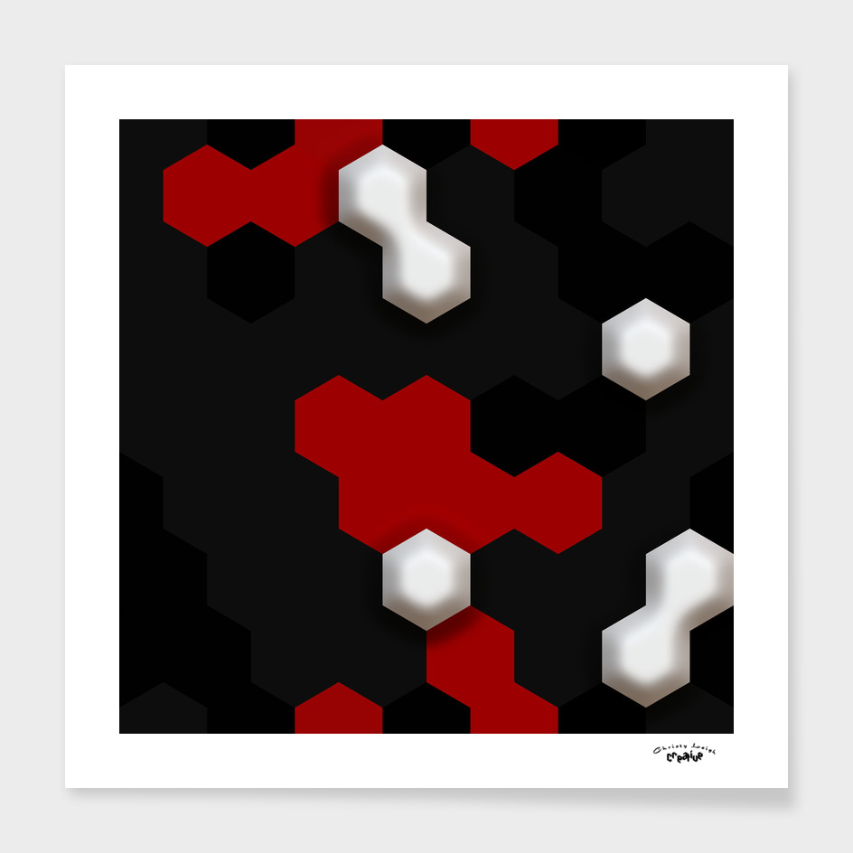 3-d Geometry Red and Black