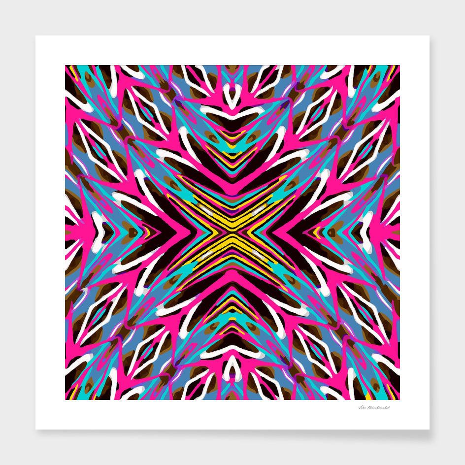 psychedelic geometric graffiti abstract in pink blue yellow