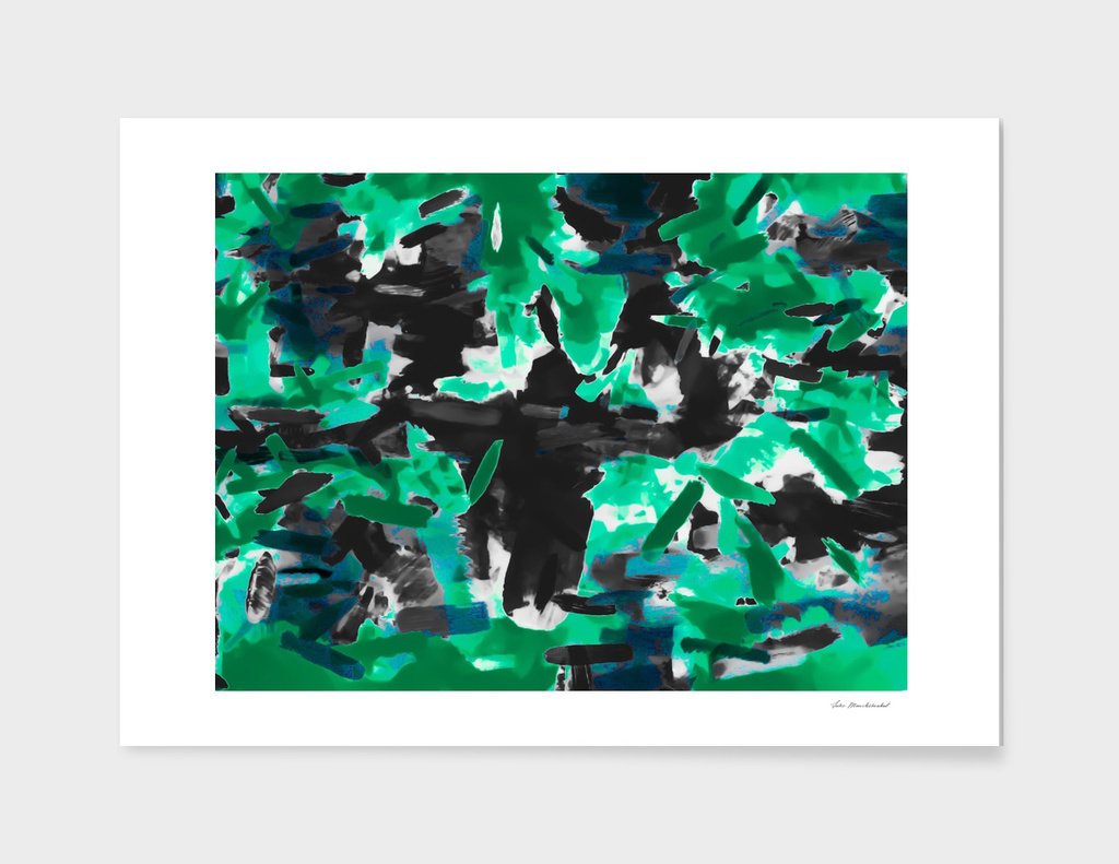 vintage camouflage painting texture abstract in green black