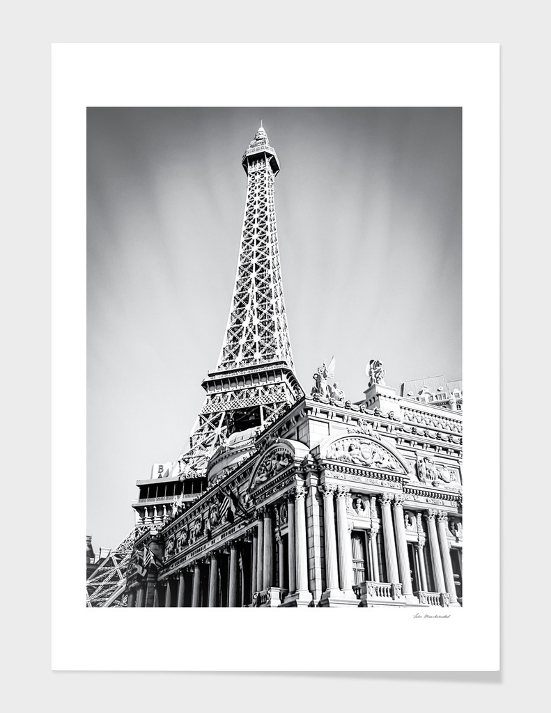 Eiffel towerP at Las Vegas, USA in black and white