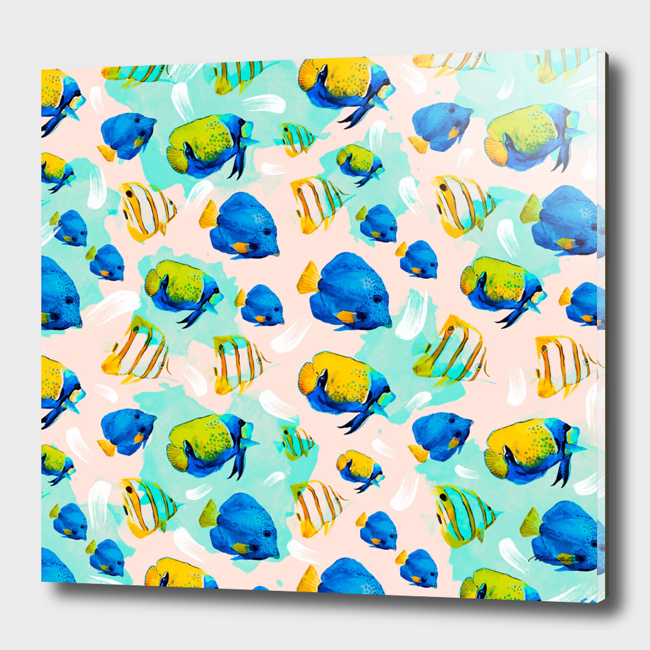 Watercolor fish pattern