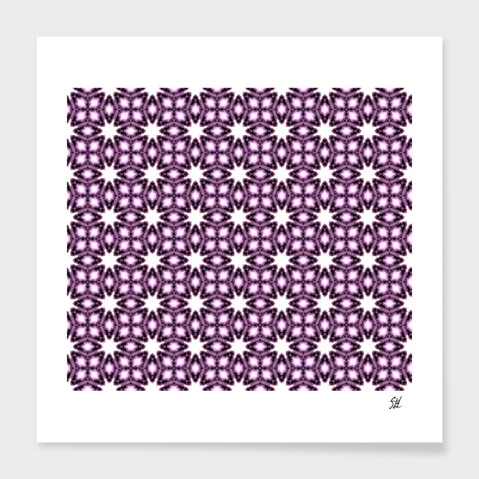 Detail Symmetrical Starburst & Diamond Design, Purple, White