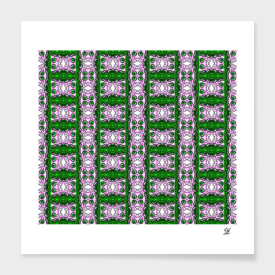 Detail Of Purple & Green Lattice Pattern With White Diamonds