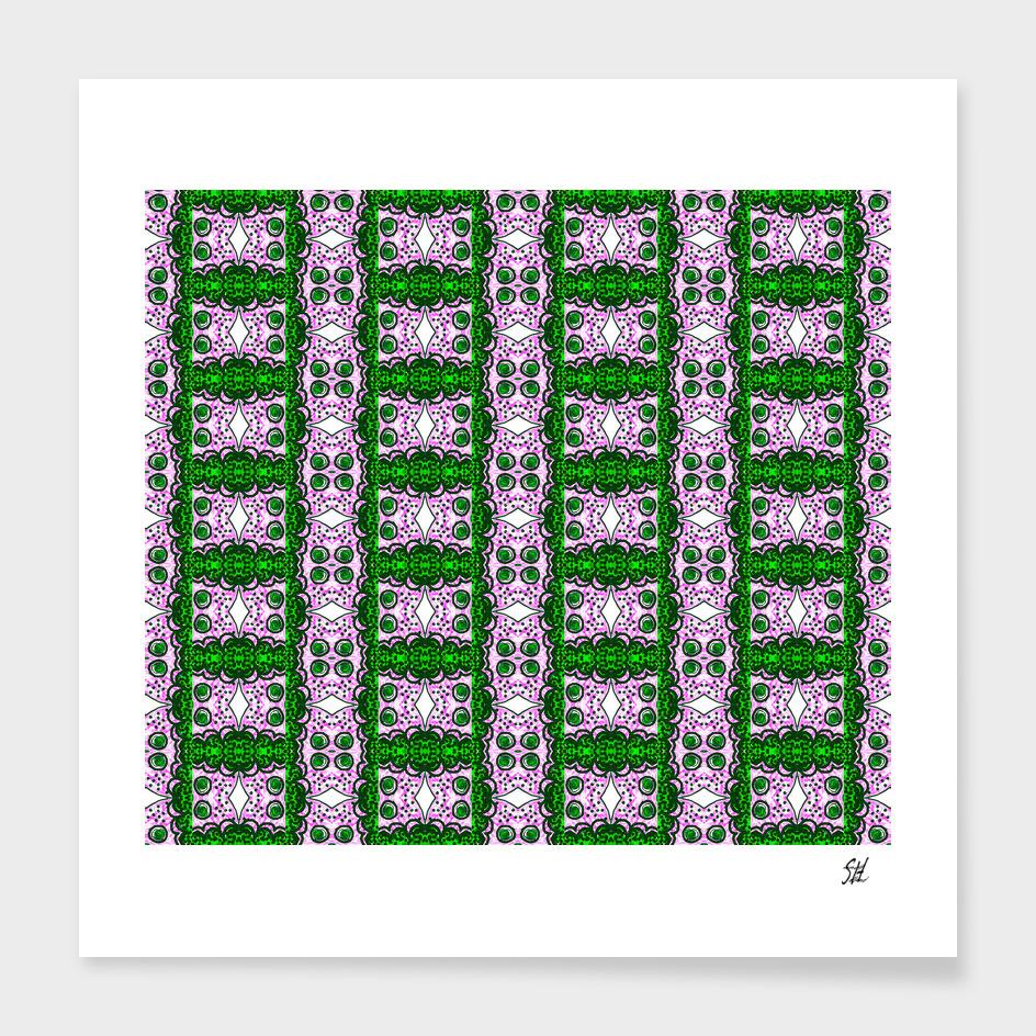 Detail Of Purple & Green Lattice Pattern With White Diamonds