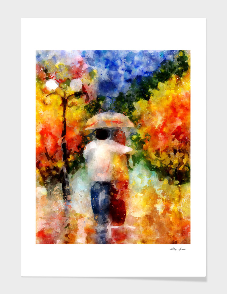 Colorful print, Abstract watercolor, watercolor painting