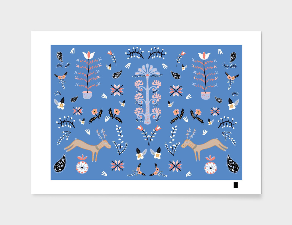 Blue folk pattern