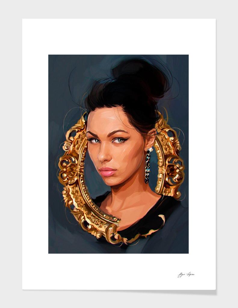 Girl in vintage frame