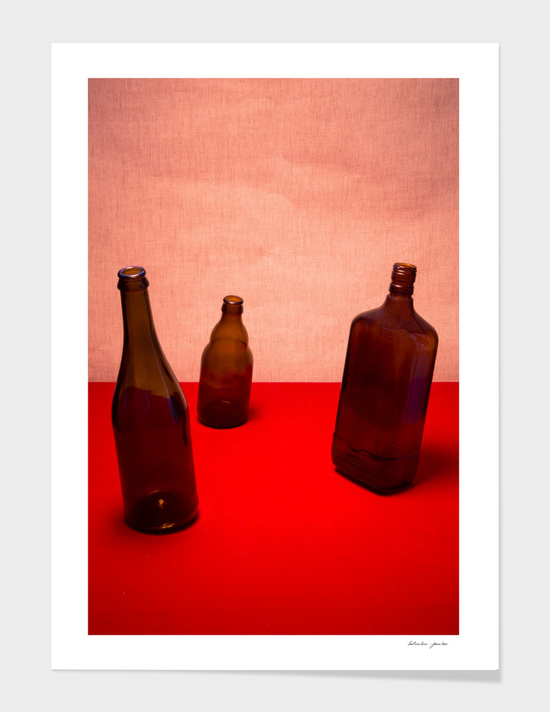 Very simple still life with bottles