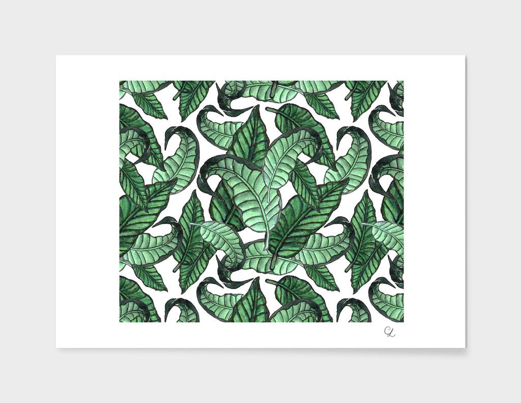 Leaves watercolor pattern n.1