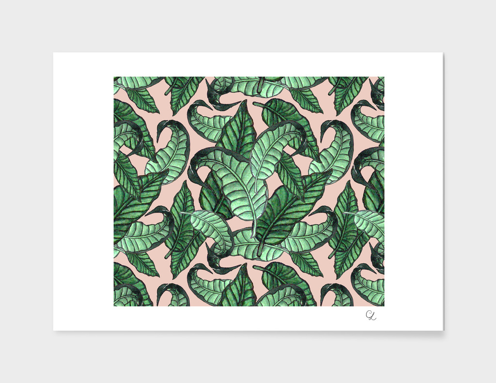 Leaves watercolor pattern n.1 in pink